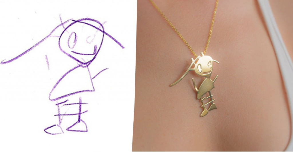 they transform kids drawings into beautiful pieces of jewelry