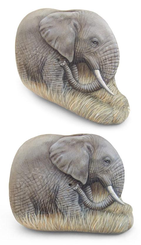sasso-dipinto-elefante-africano
